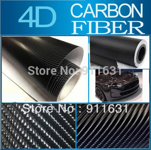 "10x152CM 4""x60"" Black Car 4d carbon fiber Film vinyl Glossy Auto Wrapping Vinyl Wrap Foil Phone Notebook Sticker(China (Mainland))"