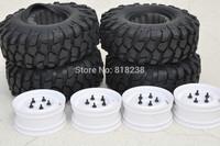 "Crawler Tire/white color wheels/rims set 1.9"" 108mm-4pcs for tamiya CC01 JEEP Pajero D90/ rc4wd"