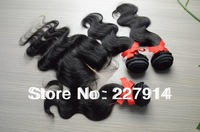 All Express Rosa Hair Products Malaysian Body Wave Virgin Hair 3 Bundles With middle part  lace Base Closure Bleached Knots