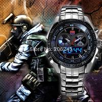 Hot Sale Men Full Steel Watches Military Watch Analog Digital LED Watch Male Fashion Quartz Watch Waterproof Clock MN4434