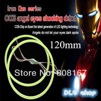 Free Shipping 1 piece  Iron Men Series COB Angel Eye Light LED Chip Car Light 120mm Waterproof LED Car Headlight Light