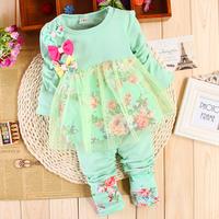 2014 female child spring twinset 100% long-sleeve cotton children baby girl
