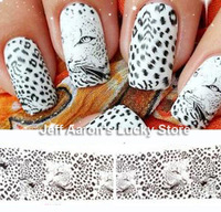 5PCS/lot Water Transfer Nail Art Stickers Decals for nail tips decortaion Leopard Tiger Stripes Design