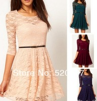 S-XXL ASD 2014 Spring European and American women's candy-colored models with large swing full lace dress 3/4 Sleeve with belt
