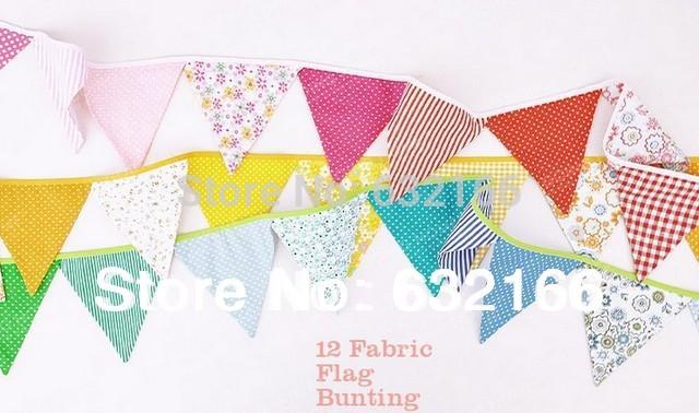 Spedizione gratuita colorate a mano tessuto bandiere bunting, partito decorazione, banner casa decorazione partito forniture eventi home decor