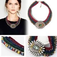 Top Fashion New Europe Fashion Women Flower Crochet Europe Brand Designer Choker Women Pendant Necklace Dropshipping
