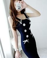 DR1766 Boho style Women Navy blue Sleeveless Dress 50S sexy Party Dress Dresses
