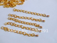 Free shipping 2'' 3mm 1000piece jewelry necklace end extender chain with drop tip beads//rose