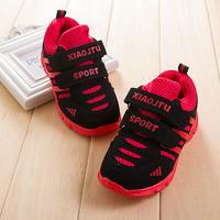2014 New Arrival Stripe Design Spring Gauze Velcro Sport Shoes Kids Girls Boys Children Sneakers Unisex Footwear