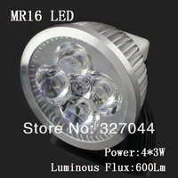 Free shipping GU5.3 GU10 E27 MR16 LED spotlights 4X3W 12W DC12 volt led lights for home 10pcs/lot