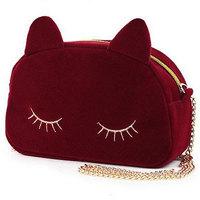 2013 women's rabbit fur ball bags mobile phone bag embroidery small cat bags women vintage black shopping handbags hot selling