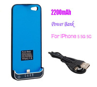 Wholesale Price 2200mAh Portable Power Bank Charger Backup External Battery Cover Case For iPhone 5 5G 5C Durable