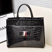 Hot Sale Women Handbag Luxury OL Lady Crocodile Pattern Hobo Tote Shoulder Bag Black & Red Free Shipping SD-015