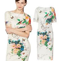 New Vintage Retro Women Dress 2015 Summer Brand Designer Cheongsam Bodycon Party Dresses Elegant Printed Floral Casual Dress