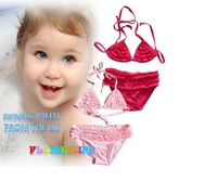 New 2014 good quality with fold lovely girls swimwear Children swimwear kids swimwear  bikini top and pants  1pieces/lot pink