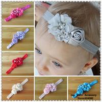 2014 New Arrived Girls Fabric Flower Headbands,Baby Hair Bows,Children Elastic Headband,FS124+Free Shipping