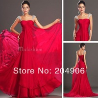 2014 New Arrival Fashion Crystal Beadings Cap Sleeves Chiffon Evening Dress Gowns Mermaid Trumpet Prom