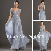 2014 Spring Cap Sleeves Vintage Prom Dress Back Lace See Through Long Evening Dress Celebrity