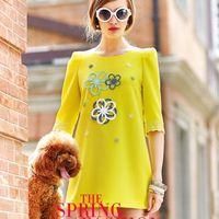 Spring 2014 new women's summer Dress handmade diamond victoria beckham dress brand novelty dresses vestido vestido saia