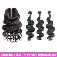 6a bella dream unprocessed brazilian virgin  human hair 3pc hair extension &1pc middle lace closure body wave