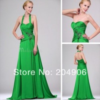 Halter Neck Dress Women Off Shoulder Emerald Green Evening Dresses New Fashion 2014 Dress Party Evening Elegant