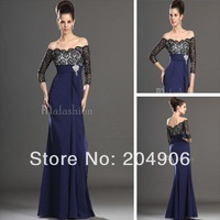 Designer 2014 New Off Shoulder Black Lace Nude Evening Dresses Long Sleeves For Prom