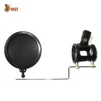 "Pro 4"" Microphone Shock Mount Stand Holder + Pop Filter Mini Mic Anti Pop Shield Kit"