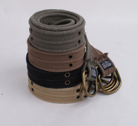 Mens Belt D-ring Double Exhaust Eye 100% Cotton Canvas Belts China High Quality  On Sale Length 125cm Width 3.8cm
