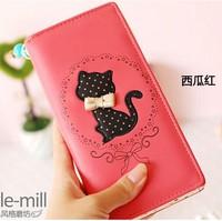 New 2014 cat print bow polka dot zipper women leather long women female wallets purses design carteira feminina,Free Shipping