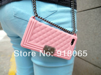 Luxury wowen's bag design Silicon Cover With Chain handbag case for iphone4 4G 5 5G 5S with Opp bag Free Shipping