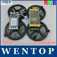 20M SMD 5050 600Leds RGB LED Strip and 44 Key IR Remote Control and 12V 10A Power Supply  30Leds/m