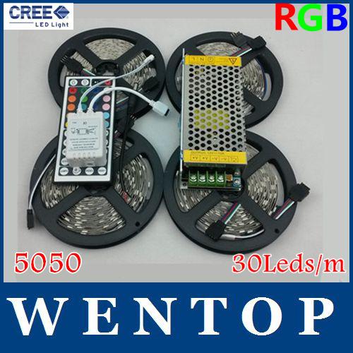 20M SMD 5050 600Leds RGB LED Strip and 44 Key IR Remote Control and 12V 10A Power Supply 30Leds/m(China (Mainland))