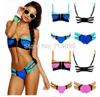 lady swimwear Free Shipping new bikini swimwear colorful swimsuit women sexy beachwear rainbow prints swimming suits bikini sets