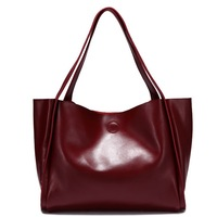 Hot Fashion Women's Handbag Genuine Leather Real Cowhide 5 Colors, Retro Vintage Handbags Brief Design Tote Bag + Free Shipping