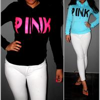 2014 neon pink hoodie  brand fashion vs love pink woman  letter pattern pullovers Sportswear  Fleece French Terry Sweatshirts