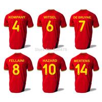 Belgium 2014 World Cup Home Jersey Thailand Quality Belgium HAZARD / KOMPANY / FELLAINI / LUKAKU shirt soccer jersey Free Ship