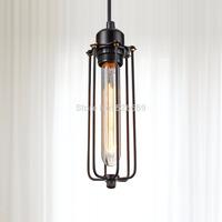 Traditional Mini Black Wire Long Cage Pendant Light TN-YJ-8803