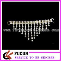 50pcs/lot free shipping plating gold rhinestone tassel connector for bikini