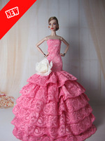 2014 new Handmade Luxury Princess dress for barbie pink fishtail skirt For FR Doll + Free Gift