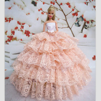 2014 New Handmade Embroidered dress For FR doll Light yellow Clothes for barbie Doll + Free Gift