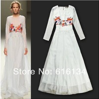 Free shipping! European Runway dress Women spring summer high-quality white and black silk embroidery ankle-length dress 2014