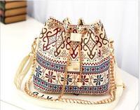 Free Shipping 2014 New Women Handbag National Trend Bohemia Style Print Chain Drawstring Bucket Bag Women Messenger Bag