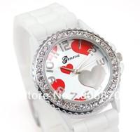Unisex Geneva Sports Watch Silicone Strap Crystal Women Dress Watches Big Hours Analog Hot Sale
