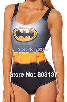 2014 Women Custom Tankinis BATMAN Bodysuit SWIMSUIT Digital Printing Swimwear Hot Black Sexy Wetsuit Drop Ship S125-118