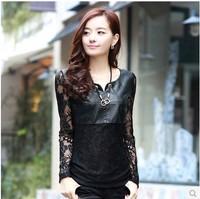 S-XXXL femininas 2015 Spring PU Leather+Lace patchwork black chiffon Blouses/crochet clearance plus size office&casual blusas