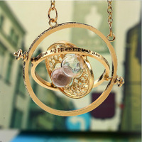 Wholesale Harry Potter Movie Time Turner Hourglass Necklace Fashion Punk Hermione Granger Rotating Spins Gold Lover's Jewelry