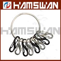 NITE IZE Bigring Steel Keyring Keychain & 8 S Biner Steel Clips 4 Silver 4 Black