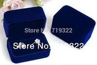"""luxury blue velvet Couple Rings/earings rectangle box/case 75*50*45mm/2.95""""*1.95""""*1.8"""" packing wedding gift box free ship"""
