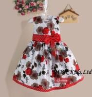 Girl Dress Summer 2014 Printed Elegant Sundress Red And White Points Bowknot Flower Girl Princess Dress For Baby Kids Clothing