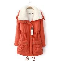 Outerwear Women Cotton-Padded Jacket Slim Waist Medium-Long Wadded Jacket Winter Women's Outerwear Thick,Ladies Coat